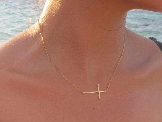 Long skinny gold sideways cross necklace 18k gold sideways like this item aloadofball Images
