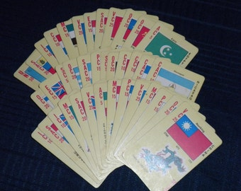 Vintage 1950s Flags of the United Nations Card Game in Box
