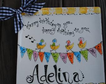 Bird Personalized Happy Birthday Plate,