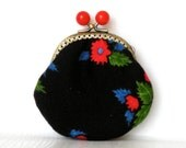 Ethnic traditional red flowers on black coin purse