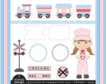 All Aboard the Party Train Clip Art - in Blue, Red, and Pink - For Girls
