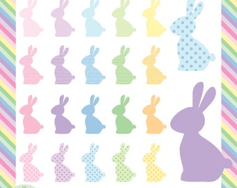 Easter Bunny Silhouette Digital Clip Art - 20 cute bunnies in pastel colors