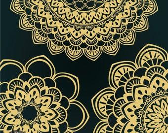 Golden Sunburst - Digital Clip Art - Ethnic inspired doilies in gold