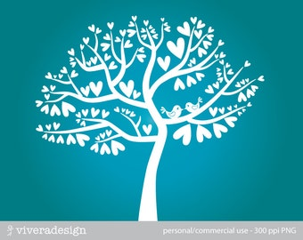 Love Birds on the Heart Tree Silhouette in White - Digital Clip Art