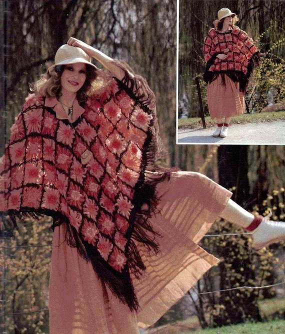 Vintage Crochet Pattern Loom Flower Poncho 273 Retro Boho