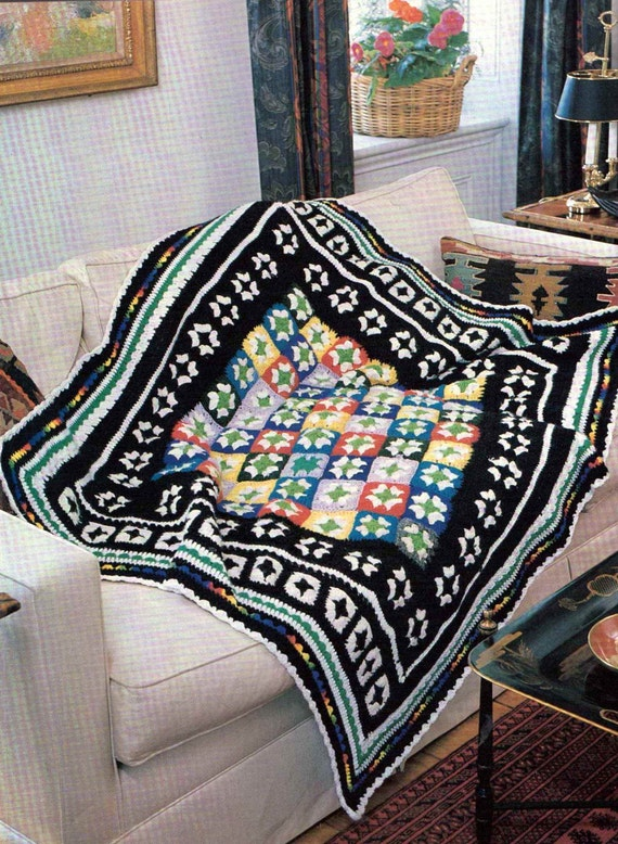 Vintage Crochet Pattern Bordered Beauty Granny Square Blanket Afghan.