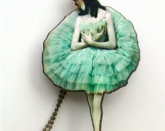 Ballerina Necklace Jewelry Gift  - Stunningly Detailed  Ballerina Charm Vintage Style Necklace