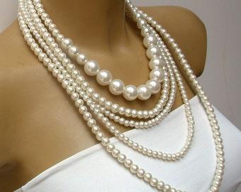 Collar de boda joyería nupcial, Multi Strand Vintage inspirado crema collar de perlas, nupcial, collar nupcial de la boda de playa, damas de honor