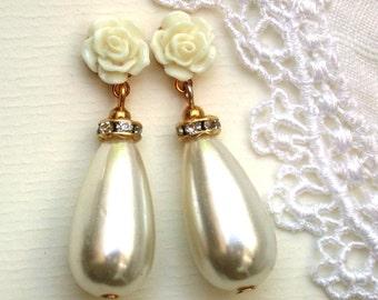 Drop Rhinestone & Pearl Earrings, Wedding Jewelry Bridal Jewelry Wedding Pearl Earrings, Rhinestone Bridal  Jewelry, Bridesmaids Earrings
