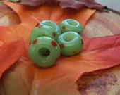 Spring Mint - Milk Glass Green - Large Hole Glass Beads - Lampwork Glass - 5 beads