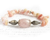 Pink Opal Bracelet, Rose Quartz, Antique Silver, Genuine Gemstones, Natural Stone Bracelet TAGT - KapKaDesign