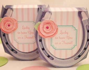 Shabby Chic HORSESHOE Favor Box : DIY Printable PDF - Instant Download