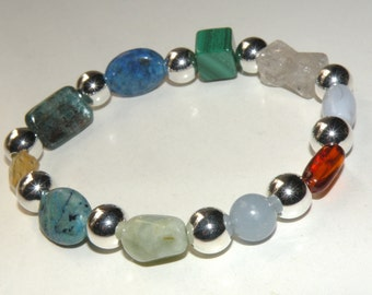 Thyroid Gemstone Healing Bracelet stretch *FREE SHIPPING USA* 479