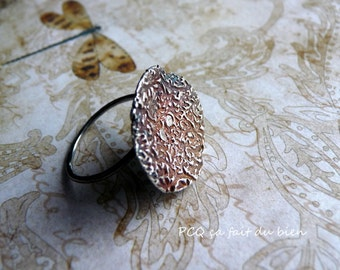 Original fine silver ring with oxidized flat top