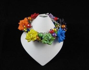 SALE - Rainbow Rose Loaded Bracelet - roses, rainbow, red, orange, yellow, green, blue, indigo, violet, polymer, bracelet, glass