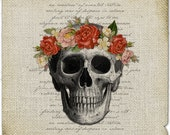Skull image Floral wreath crown Bones Digital sheet Gothic Halloween Download For burlap towel iron on transfer fabric paper pillow n897