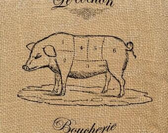 Le cochon Pig image Farm animal French Butcher shop Burlap Vintage ephemera Download For print transfer tag label napkins burlap pillow n810
