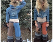 Patchwork Eco Gaucho PANTS, Size S, upcycled clothing,yoga, cargo pocket, earthy mix,asian lotus applique by Zasra