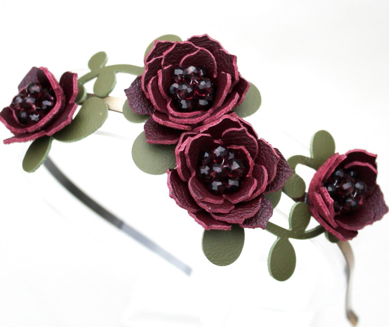 Bridal Hair Flower Headband Burgundy Headband By Leatherblossoms