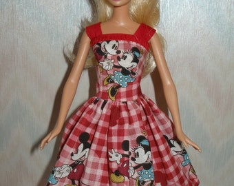 Handmade Barbie clothes - Red cotton print dress