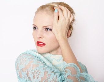 Blue Lace Short Wedding Dress Vintage 1960s Mod Style / Dress / Dresses / Blue Wedding Dress / Vintage Lace Wedding Dress / 1702