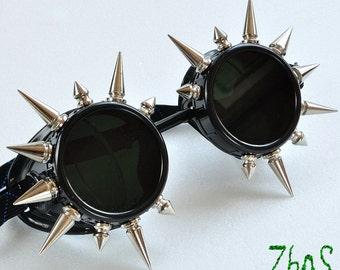 Black Cyber Goth Goggles Glasses 20 Spikes CyberPunk Industrial Noise Dark Wave
