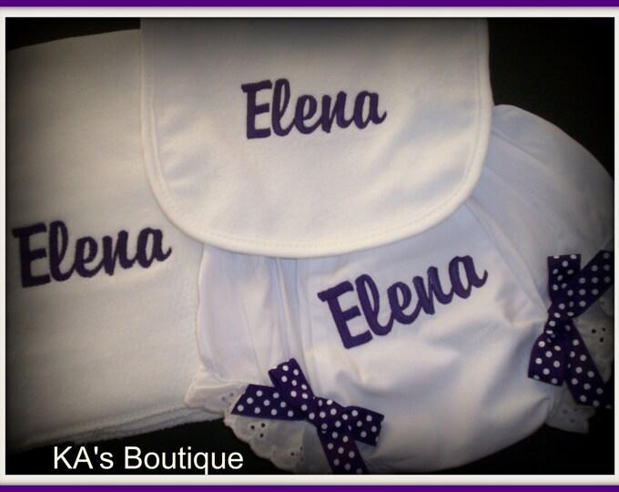 New Baby girl Bloomers, Diaper cover, Bib, Burp set personalized gift, personalized diaper cover, monogram bloomer, baby girl gift, shower