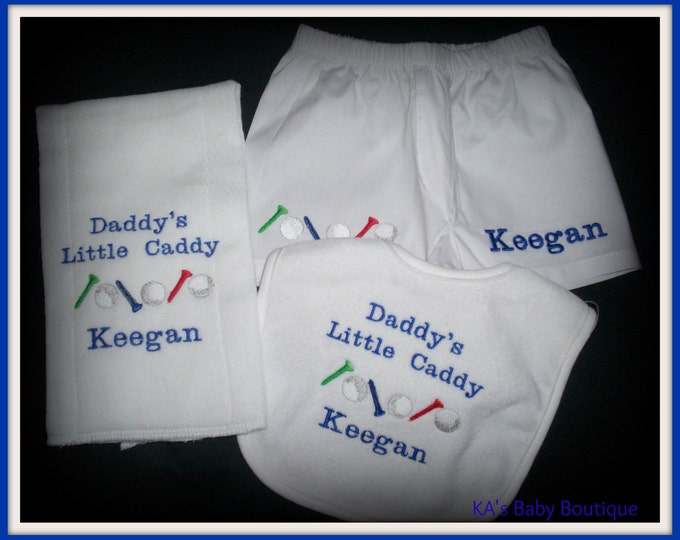 Baby golf diaper cover boxer bib and burp set personalized - little caddy baby gift - Embroider golf baby bib set - Personalized golf bib
