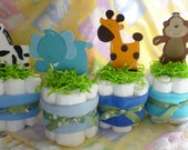Diaper Cakes Safari Animal ..Safari Baby Shower..Baby Washcloths..Zebra..Lion..Monkey..Giraffe..Elephant...Tiger...Crock..Adorable :)