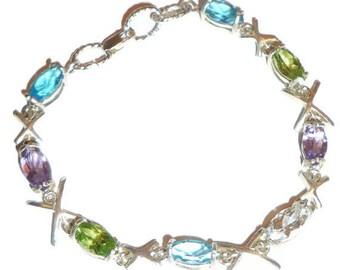Genuine Peridot, Amethyst, Swiss Blue Topaz Bracelet 7 Inch SS .925