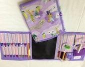 """Tinker Bell """"Believe""""  Art Tote in a pretty print complete with chalk, eraser, chalkboard, colored pencils, pencil, crayons, and paper"""