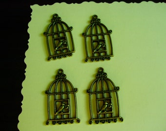 Lot of 4 Birdcage Charms - Antiqued Brass- 3D Single Sided