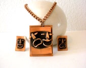 Vintage 50s 60s Copper Comedy Tragedy Earrings and Pendant Set - Bohemian Copper Comedy Tragedy Mask Earrings and Necklace