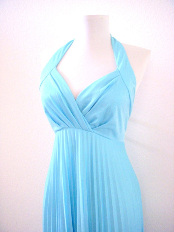 Vintage 60s 70s Baby Blue Halter Maxi Dress with Accordion