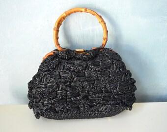 1960 Mad Men Black Woven Nylon Straw Ruffled Circle Handle Bag Handbag Purse Bamboo Handles