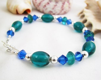 Sterling Silver Teal and Capri Blue Bracelet