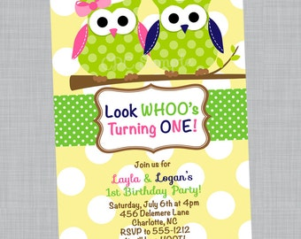 Owl Birthday Invitations - Printable or Printed - Owl Party Supplies and T-Shirt - Owl Baby Shower Invitations
