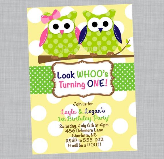 Owl Birthday Invitation, Twin Owls Baby Shower Invitations