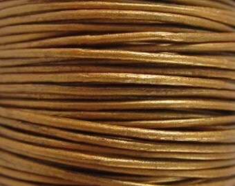 2 Yards - 1mm Metallic Sun Leather Cord