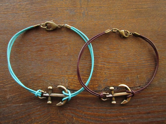 Anchor Bracelet Kit in Antique Brass with Turquoise Leather