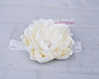 flower girl hair accessories, baby headband, infant headband, ivory flower headband, peony