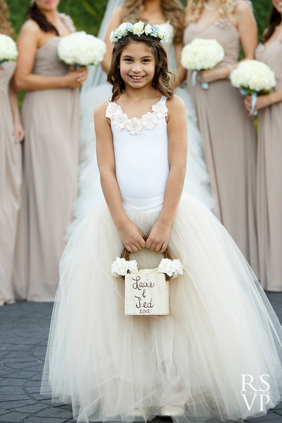 nude flower girl dress flower girl dresses tulle skirt. Black Bedroom Furniture Sets. Home Design Ideas