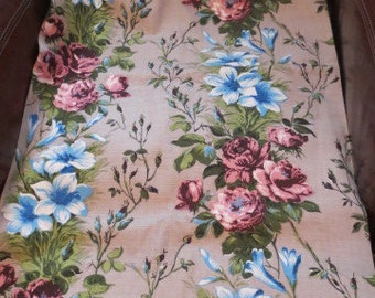 SALE Price-Vintage Mauve Taupe ROSES & Blue Flowers Barkcloth Fabric 43 x 197 inches c.1960's VGC