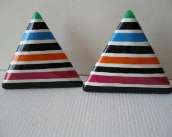 Plastic Stud Earrings/Stripes/triangular earrings/Mod retro earrings