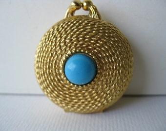 Estée Lauder/ Perfume Box/Solid perfume/pill box/cabochon turquoise/l970s
