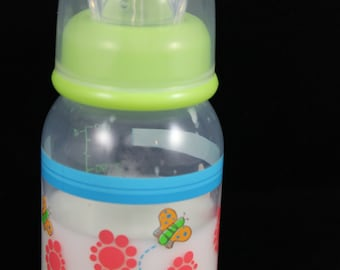 Green 4oz Flower Print Fake Formula Bottle
