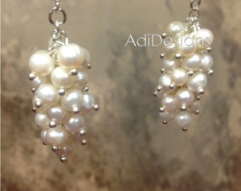 Cluster Freshwater Pearl Earrings with .925 Sterling Silver Earwires - Bridal Bridesmaid Earrings (MaLai1-NP) g30121