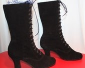 Ankle Boots black Victorian Boots Edwardian boots Black Victorian Shoes Ankle boots also for wider feet and strong calf