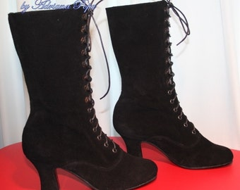 Victorian Booties  Edwardian booties Black suede Victorian Boots Ankle Boots Historical shoes Stage boots