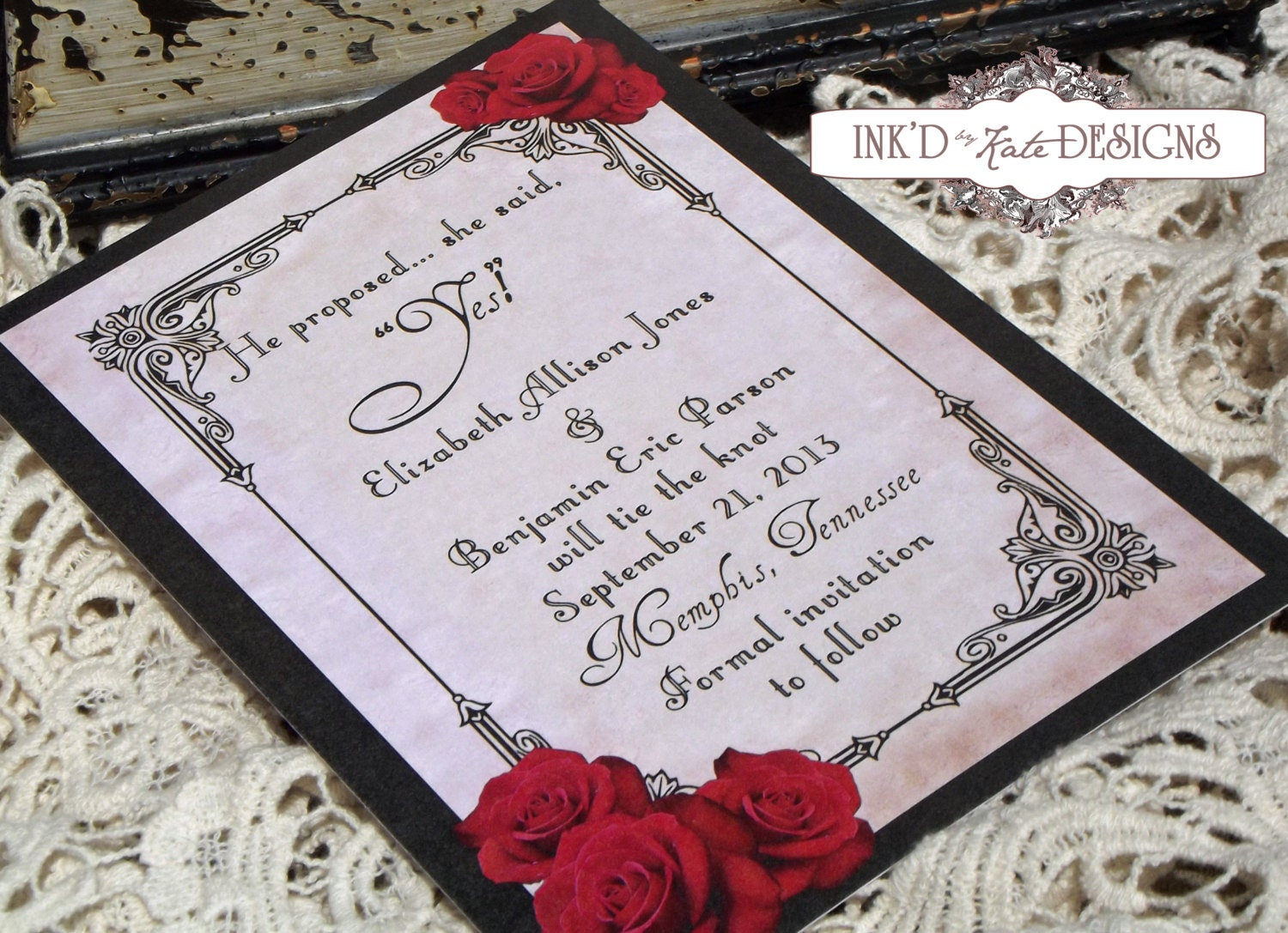 Vintage black and red romantic rose wedding by inkdbykate for Etsy engagement party invites